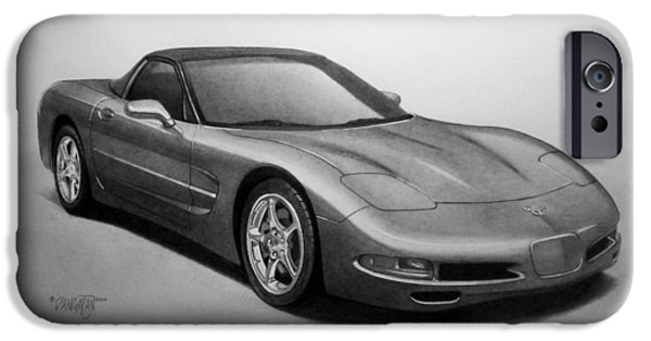 Graphite Drawing iPhone Cases - Corvette iPhone Case by Tim Dangaran
