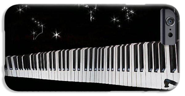 Piano iPhone Cases - Cosmic Harmony iPhone Case by Lozja Mattas