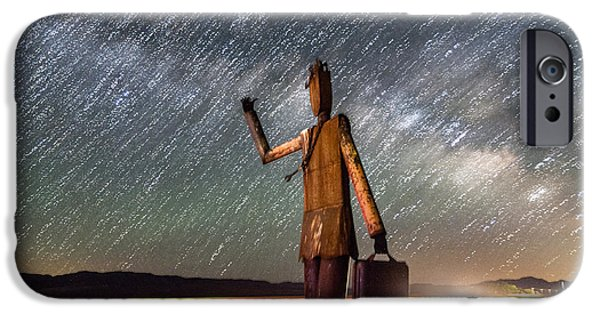 Night Photography iPhone Cases - Cosmic Hitchhiker II iPhone Case by Cat Connor