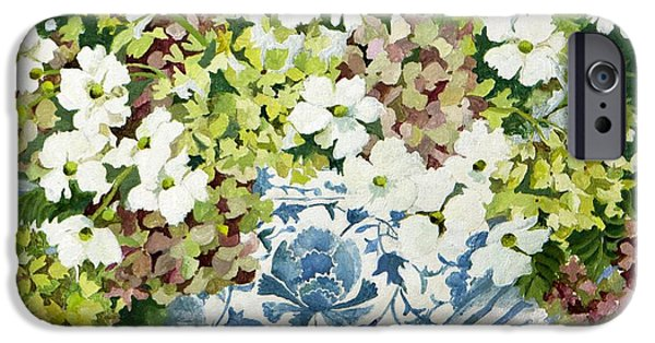 Cosmos Paintings iPhone Cases - Cosmos and hydrangeas in a chinese vase iPhone Case by Jennifer Abbot