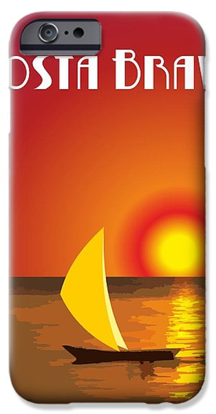 Abstract Digital Art Drawings iPhone Cases - Costa Brava By Quim Abella iPhone Case by Joaquin Abella