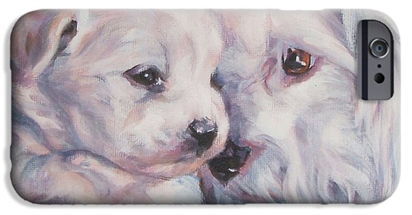 Coton Tulear iPhone Cases - Coton De Tulear with pup iPhone Case by Lee Ann Shepard