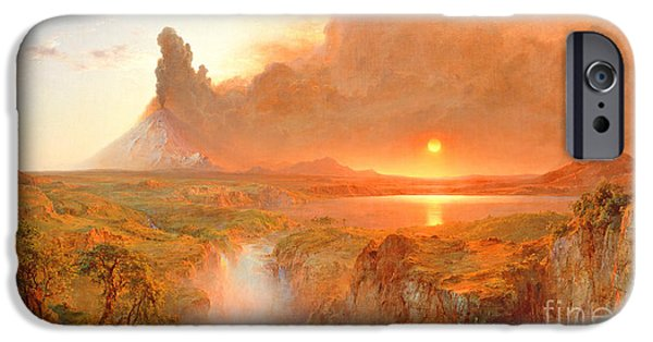 Setting Sun iPhone Cases - Cotopaxi iPhone Case by Frederic Edwin Church