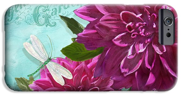 Flora Mixed Media iPhone Cases - Cottage Garden - Dinner Plate Dahlias w Dragonfly iPhone Case by Audrey Jeanne Roberts