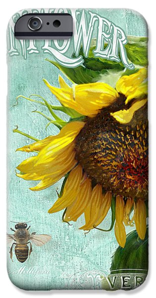 Agriculture Mixed Media iPhone Cases - Cottage Garden - Sunflower Standing Tall iPhone Case by Audrey Jeanne Roberts
