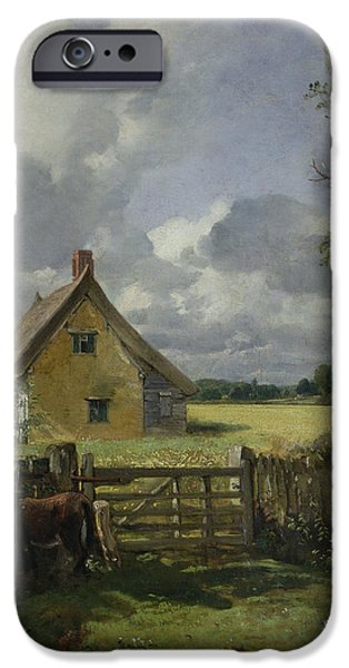 Nineteenth Paintings iPhone Cases - Cottage in a Cornfield iPhone Case by John Constable