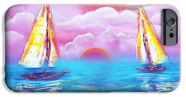 Sailboat Ocean Mixed Media iPhone Cases - Cotton Candy Cove iPhone Case by Laura Barbosa