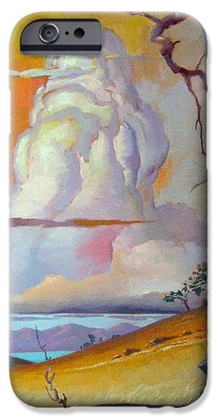 John Stewart iPhone Cases - Cottonwood Clouds 3 iPhone Case by John Norman Stewart