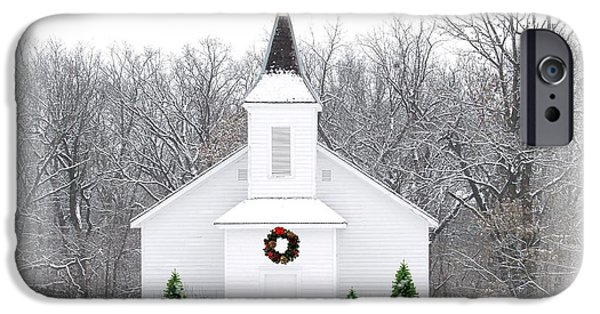 Religious iPhone Cases - Country Christmas Church iPhone Case by Carol Sweetwood