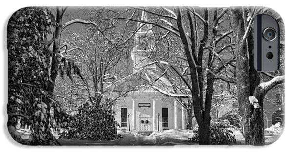 Winter iPhone Cases - Country Church In Winter Maine BandW Photo iPhone Case by Keith Webber Jr