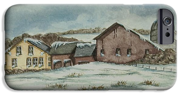Winter Scene iPhone Cases - Country Farm In Winter iPhone Case by Charlotte Blanchard