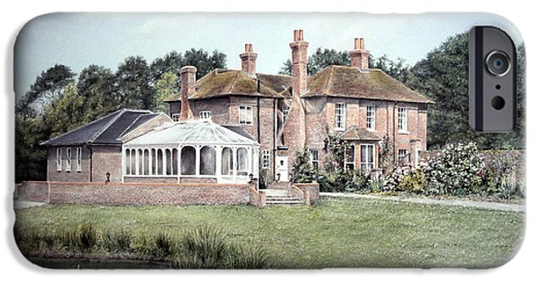 House Art Pastels iPhone Cases - Country House in England iPhone Case by Rosemary Colyer