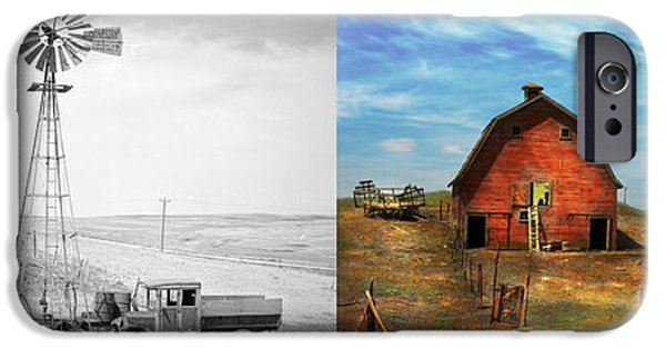 Old Barn iPhone Cases - Country - ND - Dirt farming 1936 - Side by Side iPhone Case by Mike Savad