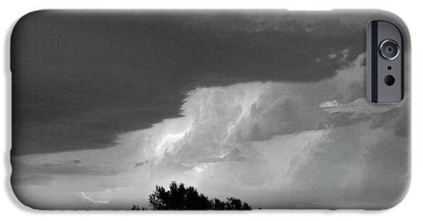 Ft Collins iPhone Cases - County Line Northern Colorado Lightning Storm BW iPhone Case by James BO  Insogna