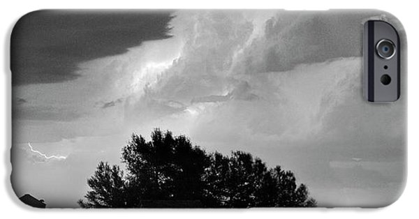 Ft Collins iPhone Cases - County Line Northern Colorado Lightning Storm BW Pano iPhone Case by James BO  Insogna
