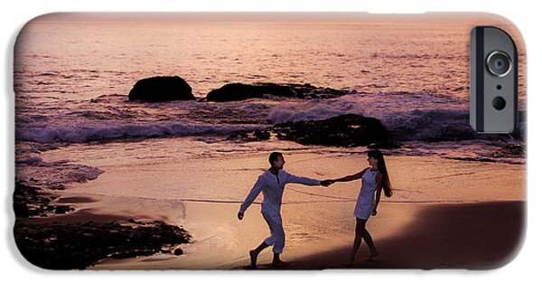 Couple iPhone Cases - Couple at beach at Sunset iPhone Case by Garry Loss
