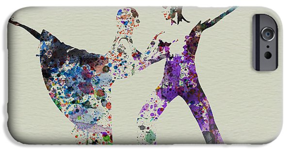 Relationship Paintings iPhone Cases - Couple Dancing Ballet iPhone Case by Naxart Studio