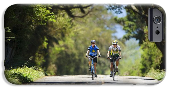 Women Together iPhone Cases - Couple enjoying a back road bike ride iPhone Case by Ron Dahlquist - Printscapes