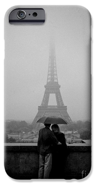 Couple Pyrography iPhone Cases - Couple in the rain Near Trocadero. iPhone Case by Cyril Jayant