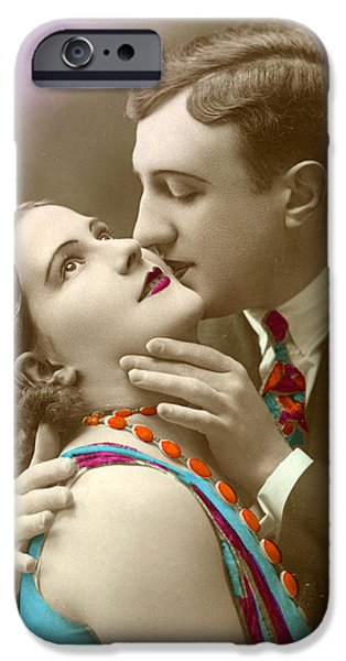 Secret Admirer iPhone Cases - Couple Kissing iPhone Case by French School