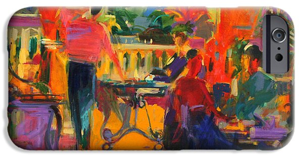 Waiter Paintings iPhone Cases - Courtyard Cafe   Tunis iPhone Case by Peter Graham