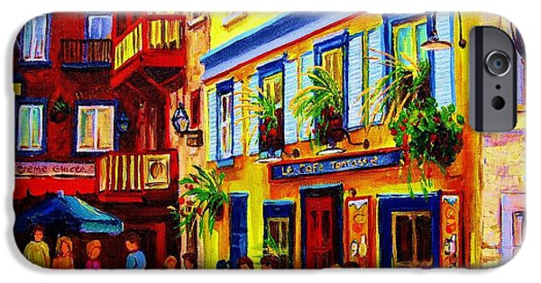 Montreal Land Marks Paintings iPhone Cases - Courtyard Cafes iPhone Case by Carole Spandau