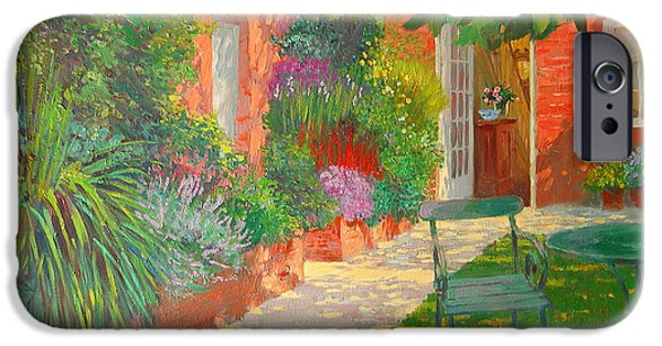 Green Path iPhone Cases - Courtyard  iPhone Case by William Ireland