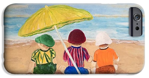 Child iPhone Cases - Cousins at the Beach iPhone Case by Anne Sands