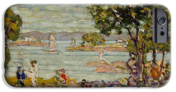 Maine Landscapes Paintings iPhone Cases - Cove  Maine iPhone Case by Maurice Brazil Prendergast