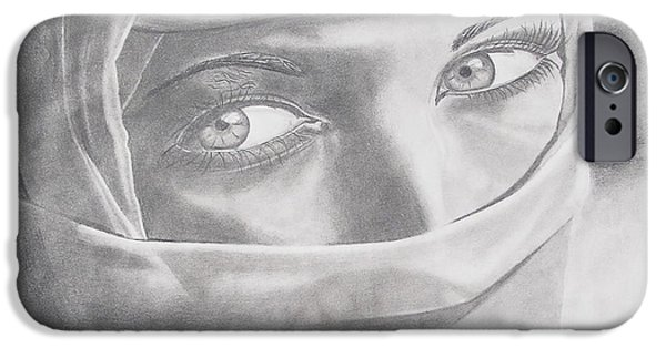 Graphite Drawing Pastels iPhone Cases - Covered Beauty iPhone Case by Wil Golden