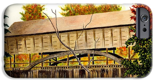 Covered Bridge iPhone Cases - Covered Bridge - Mill Creek Park iPhone Case by Michael Vigliotti