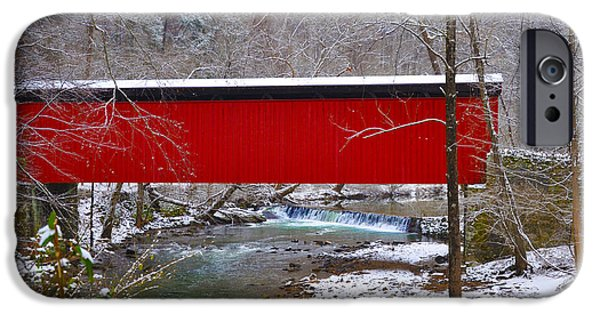 Covered Bridge iPhone Cases - Covered Bridge Along the Wissahickon Creek iPhone Case by Bill Cannon