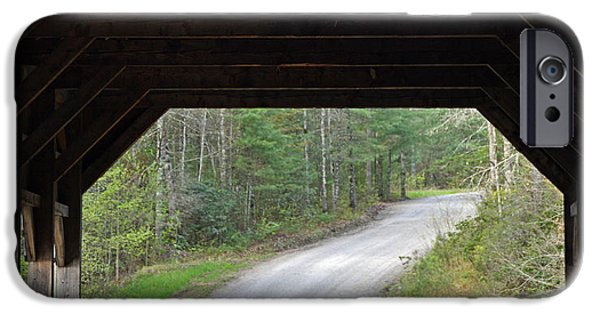Covered Bridge iPhone Cases - Covered Bridge and Winding Road iPhone Case by Bruce Gourley