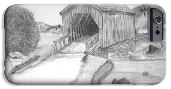Covered Bridge Drawings iPhone Cases - Covered Bridge iPhone Case by Dale  Ballenger
