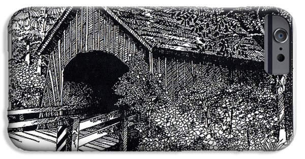 Covered Bridge Drawings iPhone Cases - Covered Bridge iPhone Case by Donald Aday