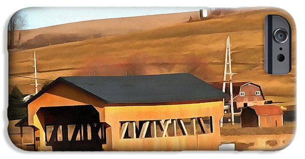 Covered Bridge Mixed Media iPhone Cases - Covered Bridge In Amish Country Ohio iPhone Case by Dan Sproul