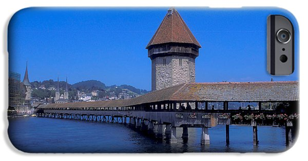 Swans... iPhone Cases - Covered Bridge in Lucerne iPhone Case by Carl Purcell