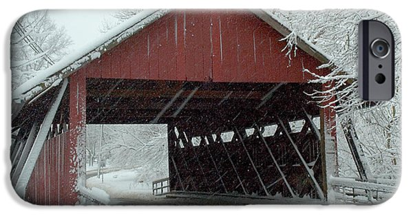 Covered Bridge iPhone Cases - Covered Bridge in Snow iPhone Case by Don Mennig