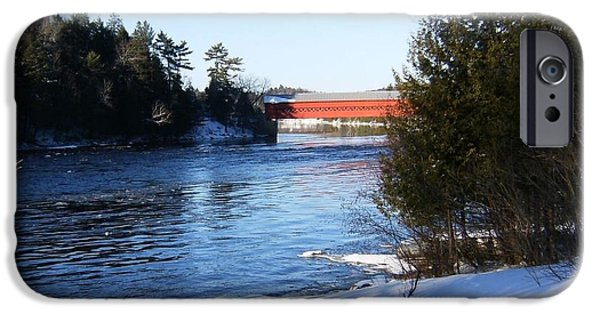 Winter Scene Pyrography iPhone Cases - Covered Bridge In Winter iPhone Case by Claude Prud