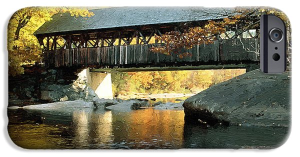 Covered Bridge Mixed Media iPhone Cases - Covered Bridge on Stream iPhone Case by Bob Sandler