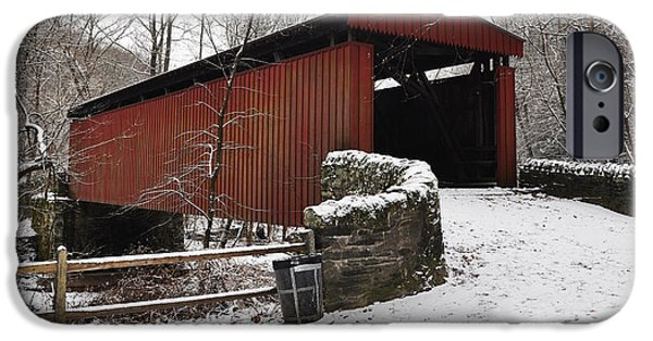 Covered Bridge iPhone Cases - Covered Bridge over the Wissahickon Creek iPhone Case by Bill Cannon