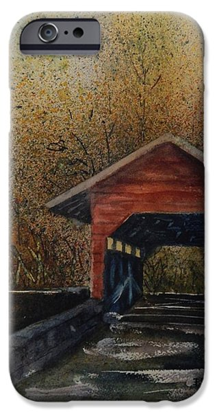 Covered Bridge Paintings iPhone Cases - Covered Bridge iPhone Case by Paula Day