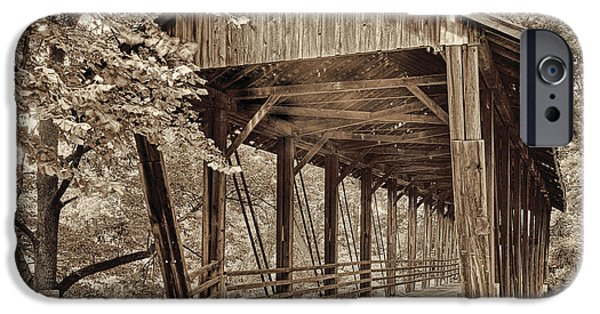 Covered Bridge iPhone Cases - Covered Bridge  Sepia Tone iPhone Case by Mindy Sommers