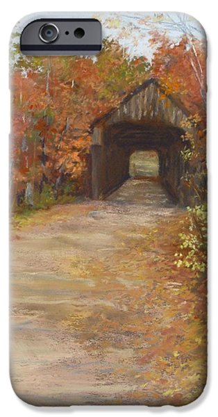 Jack Skinner Pastels iPhone Cases - Covered Bridge  Southern NH iPhone Case by Jack Skinner