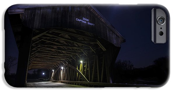 Covered Bridge iPhone Cases - Covered Bridge with full moon iPhone Case by Sven Brogren
