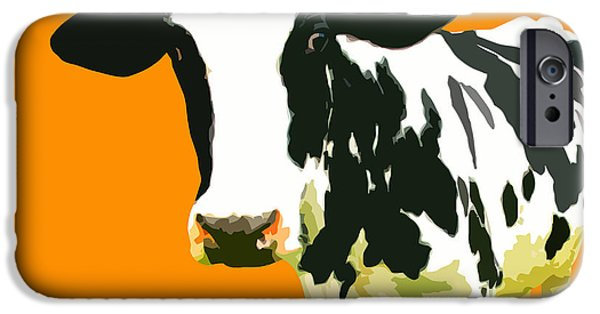 Warhol Art iPhone Cases - Cow in orange world iPhone Case by Peter Oconor