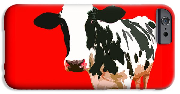 Cow iPhone Cases - Cow in red world iPhone Case by Peter Oconor