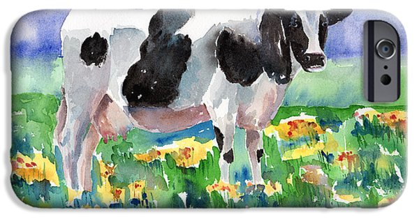 Cow iPhone Cases - Cow In The Meadow iPhone Case by Arline Wagner