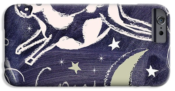 Mother Goose iPhone Cases - Cow Jumped Over the Moon Chalkboard Art iPhone Case by Mindy Sommers