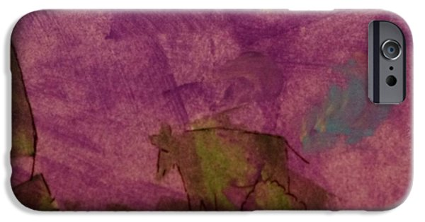 Ledge Mixed Media iPhone Cases - Cow On the Edge iPhone Case by Lori Kingston